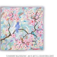 SAKURA Acrylic impasto Painting Cherry Blossom love by KsaveraART, €47.00 #painting #sakura #impasto #cherryblossom #lovebirds #mint #pink #peachpink #freeshipping