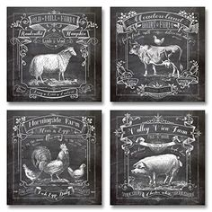 Chalkboard Kitchen Art; Dairy Farm, Old Mill Farm, Mornighside Farm, Valley View Farm; Sheep, Cow, Rooster, Pig; Four 12x12in Prints