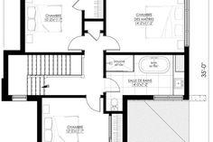 Plan de Maison Moderne Ë_140 | Leguë Architecture Best Investments, House Plans, Investing, Floor Plans, How To Plan, Architecture, Design, Home, Kitchen