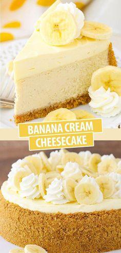Banana Cream Cheesecake with Bavarian Cream! This Banana Cream Cheesecake recipe is made with a fresh banana cheesecake topped with banana bavarian cream! It's smooth, creamy and full of the most amazing banana flavor! Banana Cream Cheesecake, Best Cheesecake, Easy Cheesecake Recipes, Cheesecake Desserts, Banana Recipes, Just Desserts, Delicious Desserts, Health Desserts, Cheesecake Toppings