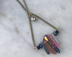 Boho Chic Aura Quartz Gemstone Necklace
