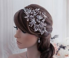 Vine Bridal Wreath Headband Headpiece Bride Hair Head Band Piece Accessories Wedding Crystal Accessory Silver Jewelry Beaded Floral Weddings ***Ready to ship within 3 business days from purchase!*** Perfectly Beautiful! This truly gorgeous vine headband features sparkling
