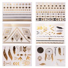 XCSOURCE Fashion Design Gold Silver Metallic Temporary Tattoo Waterproof Removable Body Arm Tattoos Makeup Stickers HS714 -- Awesome products selected by Anna Churchill