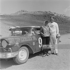 Pikes Peak Hill Climb. Jerry Unser stand with wife in front of Hot Rod Magazine Special 1957 Ford. Unser was the Stock Class champion.