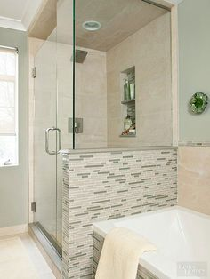 Go Long. Align bathing and showering stations on a small bathrooms longest wall. By placing the tub against the walk-in showers knee wall, the homeowners created a compact arrangement that left the opposite wall open for other bathroom fittings. Small Shower Remodel, Small Bathroom With Shower, Small Showers, Bathtub Shower, Walk In Shower, Bath Remodel, Modern Bathroom, Small Bathrooms, Compact Bathroom