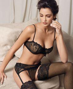 #Sexy Black #Lingerie - Lacy Balcony Bra & Sheer Garter Belt/String Thong Set