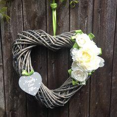 Stunning cream / off white flower, thick wicker heart shaped wreath with green satin ribbon highlight. Ideal for door or garden for Diy Wreath, Grapevine Wreath, Wedding Planning, Wedding Ideas, Wicker Hearts, Autumn Decorating, Wedding Wreaths, Heart Wreath, Green Satin
