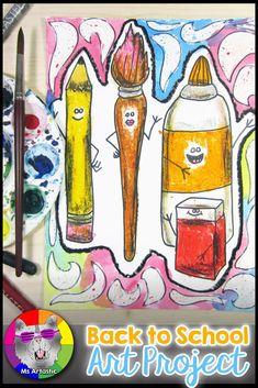 Back to School Art Project, Schulbedarf Unique Art Projects, Summer Art Projects, Animal Art Projects, School Art Projects, Back To School Art, Art School, School Ideas, School Resources, Teaching Resources