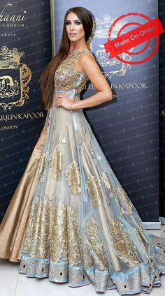 Glamorous Golden And Sky Blue Net Designer Replica Anarkali Cum Lehenga BP1720