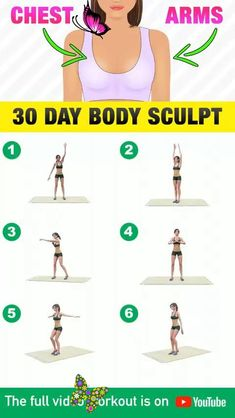 30 Days Arms & Chest Workout Challenge 30 Day Body Sculpt<br> Upper Body Weight Workout, Full Body Gym Workout, Gym Workout Videos, Gym Workout For Beginners, Fitness Workout For Women, Weight Loss Workout Plan, Fitness Workouts, Weight Loss Meal Plan, Diet Plans To Lose Weight