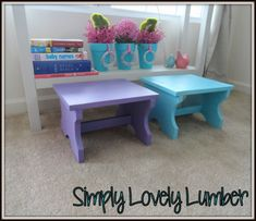 Cute DIY toddler stools.  Check out the blog for the instructions and more furniture builds.