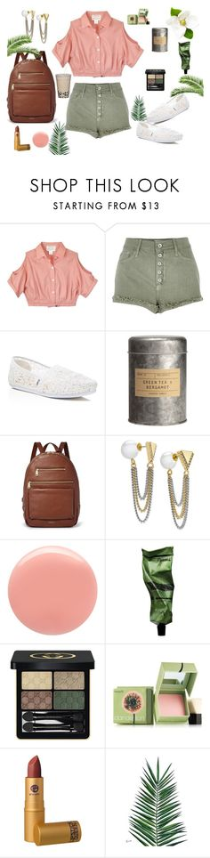"""""""Untitled #262"""" by emmierose1995 ❤ liked on Polyvore featuring Study, River Island, TOMS, FOSSIL, ABS by Allen Schwartz, Deborah Lippmann, Aesop, Gucci, Benefit and Lipstick Queen"""