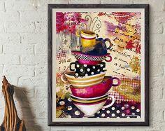 Art Print. Tasses à café divin. Candy couleur Edition