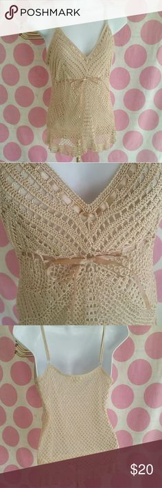 """Nude Macrame Top Both Feminine & Sexy describe this Nude Colored Top Macrame with Ribbon Detail & Waist Adjustable Shoulder Straps Excellent Condition Size L Measures 15"""" pit to pit  #rockandrollclothing #rockclothing Rave Tops Tank Tops"""