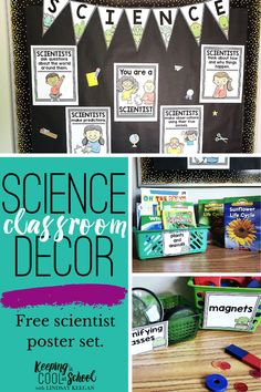 Science classroom decor is fun for students and teachers. Elementary classrooms look great with these free scientist posters. Also learn a few teacher tips for creating a science corner. Science classroom decorations are a great way to celebrate science. Kindergarten, first grade and second grade kids love these fun science posters. First Grade Science, Primary Science, Kindergarten Science, Teaching Activities, Teaching Science, Activities For Kids, Science Posters, Science Classroom Decorations, Teacher Hacks