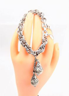 Monet Silver Dangle Bracelet Silver tone Double Link Shiny