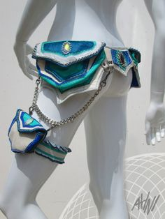 Leather Utility Belt and Thigh Pocket in Turquoise by ahniradvanyi, $417.00