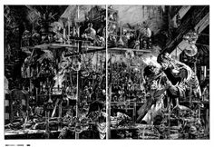 Bernie Wrightson: Frankenstein p146-147 transparency production art Comic Art