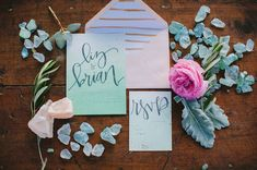 Ombre invites with gorgeous lettering
