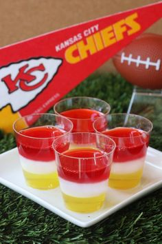 Kansas City Chiefs Jell-O Shots (3 oz. box lemon Jell-O 4 envelopes Knox plain gelatin 3 cup vodka 1 cup milk 1/4 cup sugar 3 oz. box cherry Jell-O)