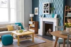 A gorgeous #teal pattern on the walls with #teal accents from furnishings can create a sophisticated space.