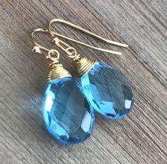 Min Favorit Swiss Blue Hydroquartz Briolette & Gold Pl Artisan Wrap Earrings #minfavorit #DropDangle
