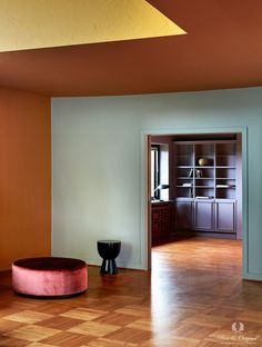 See trough from the living room to the read room Color Inspiration, Interior Inspiration, Tufted Leather Ottoman, Paint Color Combos, Interior Wall Colors, Interior Styling, Interior Design, Scandinavian Living, Blue Rooms