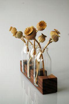 Vasen - *3* Milchkanne aus Nuss, Vase, Blumenvase, Holz - ein Designerstück von kerfra bei DaWanda
