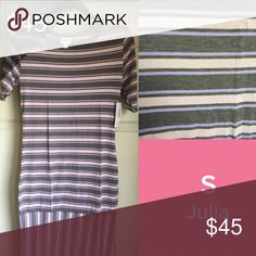 LuLaRoe Small Julia Dress LuLaRoe Small Julia Dress-gray/light pink/purple stripes *Fits sizes 4-6 *Julia dresses are form fitting-if you prefer a looser fit size up LuLaRoe Dresses