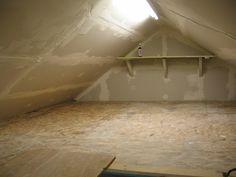 Ideas Attic Storage Space Interiors For 2019 Garage Attic, Attic House, Attic Playroom, Attic Loft, Attic Rooms, Attic Spaces, Attic Office, Attic Bathroom, Attic Library