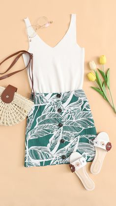 #Leaves #Print #Button #Front #Skirt