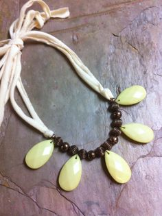 Citron bead and cream fabric summer necklace $25