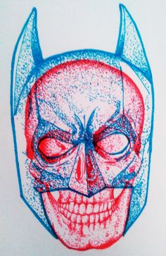 Pointillism drawing of the Man under the Mask.Done in red and light blue ink