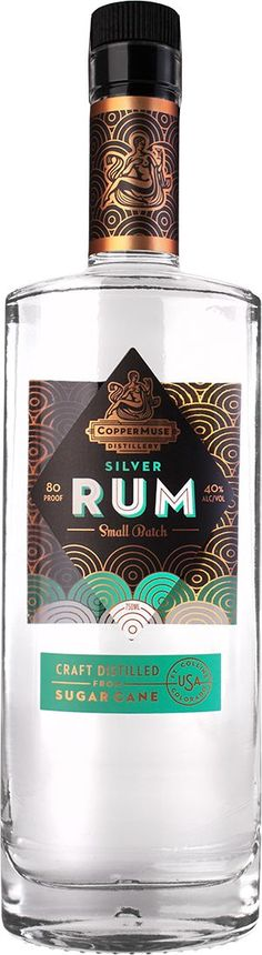 CopperMuse® Silver Rum — CopperMuse® PD Interesting geometric design with vibrant colours light green and gold has a art deco look that i want my design to have uses a lot of spiral patterns swell but with a diamond on the centre aswell Logo Design, Label Design, Graphic Design, Package Design, Beverage Packaging, Bottle Packaging, Art Deco Logo, Bar A Vin, Rum Bottle