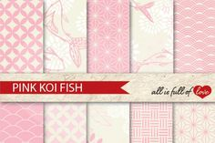 Japanese Digital Background Patterns in Pale Pink …