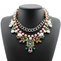 Fashion Candy Color Faux Gemstone Embellished Multilayered Necklace For Women