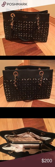 NWOT, Kate Spade perforated shoulder bag NWOT, never worn! Bought under the impulse. Black leather, perforated flowers 🌺, with off white silk visible thru design. Shoulder bag, two chain straps combined with leather. Gold hardware. PRICE FIRM. kate spade Bags Shoulder Bags