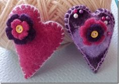Tie-on wool felt pin cushions made from felted sweaters