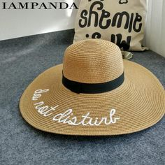 2d58e73b9d9 IAMPANDA brand Bohemian letter embroidery cap Big brim Ladies summer straw  hat youth hats for women Shade sun hats Beach hat