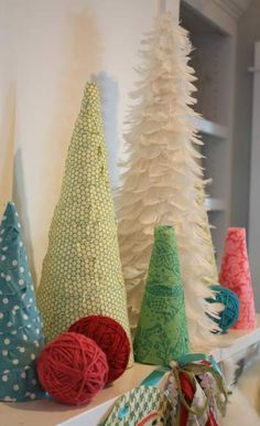 Fabric embellished mini trees. Oh, the possibilities! {The Pleated Poppy}
