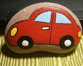 "Painted rock ""CAR""..."
