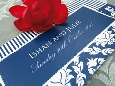 Auravella blue damask wedding invitation