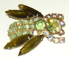 Vintage Rhinestone Bug Insect Brooch with by andiehaynes on Etsy, $43.00
