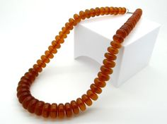 Genuine Baltich Amber Necklace 24 Inch, 74 Grams - Natural Baltic Amber Necklace - Matinee Length, Art Deco Style Necklace - Vintage Jewelry at VintageArtAndCraft