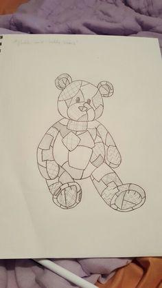 Hand drawn patchwork teddy bear