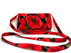 Red Poppy Womens Cross Body Bag, Red Funky Crossbody bag, Floral Sling Bag, Australian Sellers, Girls Fabric Shoulder Bag, Smartphone Bag, Red crossbody bag, Evening Bag, Christmas Gifts, Onlinine shopping, Gifts for her, Teenage girl gift