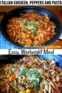 Chicken Peppers Pasta Skillet - The Southern Lady Cooks Weeknight Meals, Quick Meals, Easy Dinners, Pepper Pasta Recipe, Turkey Pasta, Cooking Recipes, Healthy Recipes, Easy Recipes, Chicken Stuffed Peppers