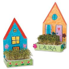 Individual houses with garden Preschool Crafts, Diy Crafts For Kids, Projects For Kids, Cardboard Crafts, Paper Crafts, Nature Crafts, Elementary Art, Spring Crafts, Preschool Activities