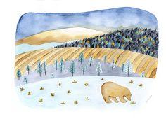 Ours | © Anne-Laure Charlery | Grain de vent | Illustration à l'aquarelle | graindevent.com
