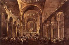 Francesco Guardi, Doge Alvise Mocenigo IV appears to the people in St. Mark, 1763
